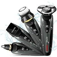 Maquina de Afeitar Barba Afeitadora Eléctrica Rotativa Resistente al Agua Multifunción 4 en 1 para Hombre Impermeable Uso mojado y seco YOHOOLYO