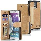 Golden Phoenix® ROYAL Lederhülle für Samsung-Galaxy-Note-4 mit abnehmbarem Backcover, Geldfach und Kartenschlitze inkl. Display Schutzfolie - Hülle Tasche in Braun
