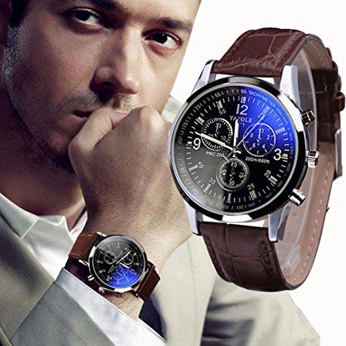 Bescita Luxury Fashion Faux Leather Mens Blue Ray Glass Quartz Analog Watches (Brown)