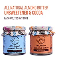 La Frux All Natural, Vegan, Gluten Free Almond Butter (1 Unsweetened, 1 Cocoa), Pack of 2, 200 GMS Each