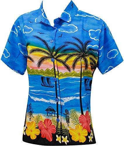 Blusen Hawaiihemd Frauen Strand Schwimmen tragen kurzen Ärmeln blau s Badeanzug -