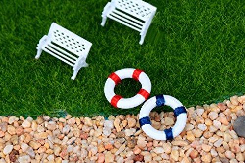 2Miniatur Puppe Schwimmen Ring Micro Strand Szene Landschaft Ornaments (rot) (Miniatur-sonnenschirm)