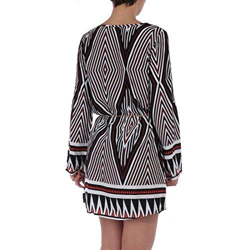 La Modeuse - Robe imprimé tribaldotée d'un col V zippé Noir