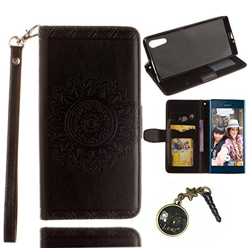 Preisvergleich Produktbild PU für Sony Xperia XZ Hülle Lederhülle Flip Wallet Cover PU + TPU Tasche PU Schutz Etui Schale Schutzhülle Für (Sony Xperia XZ) mit Magnetverschluss Magnetic Flip Bookstyle Multi-Function Protektiv Kunstleder (+Staubstecker) (10)