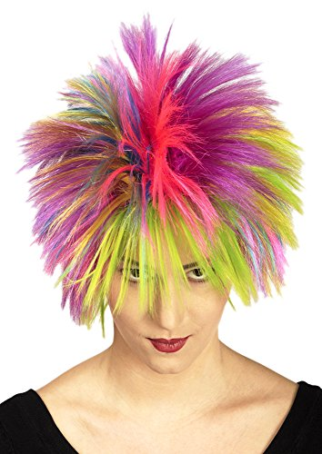 Kostüm Rockstar Punk - Regenbogen Punk Perücke Crazy Girl in Neonfarben - Zubehör zum Punk, Rave oder Rockstar Kostüm