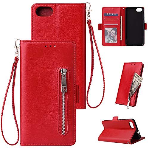 FNBK Kompatibel mit Hülle Huawei Y5 2018 Handyhülle Leder Handytasche Reißverschluss Brieftasche Flip Case Slim Luxus Schutzhülle Handschlaufe Kredit Karten Magnetische Ständer,Rot