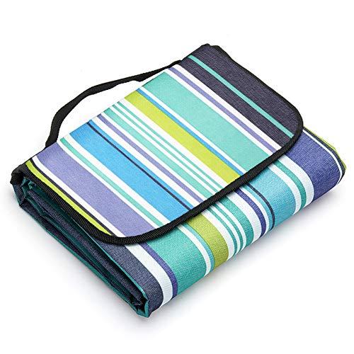 LIVEHITOP Coperta da Picnic Spiaggia 200x200 cm Grande XXL, Impermeabile Portatile Pinic Blanket Tappeto per Outdoor Campeggio, 78.74''x78.74'' (Blu Striscia)