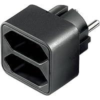 Wentronic - Adaptador para 2 enchufes, color negro
