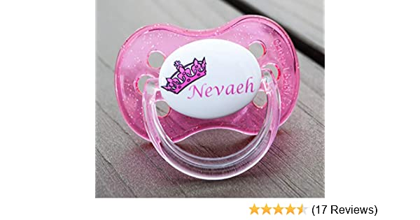 PINK CROWN 1 *TWIN PACK*  ALL TEATS PERSONALISED DUMMY PACIFIER SOOTHER