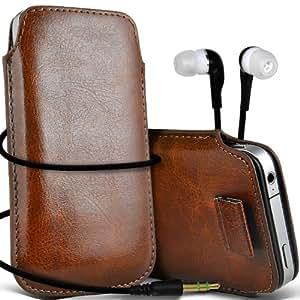 HTC Desire 501 dual Sim aus Leder für hohen Schutz Fädelschnur Schutzhülle & 3,5 mm Ohrhörer Kopfhörer Brown Aventus **