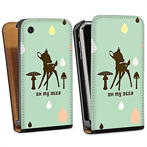 Apple iPhone 4 Housse Étui Silicone Coque Protection Oh ma biche Bambi Chevreuil Sac Downflip noir