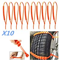 tenty.co.uk 10 X Car Truck Snow Anti-skid Wheel Tire Chains Universal Fit Tyre Width 175 - 295