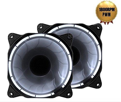 EZDIY-FAB PWM weiße LED 120mm Silent Gehäuselüfter (800-1800RPM) für PC-Gehäuse, CPU-Kühler, Heizkörper und Flüsterleise Hohe Airflow Computer Gehäuselüfter, Twin Pack -