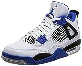 Nike Air Jordan 4 Retro Herrenschuhe aus Weißem Leder mit Schwarzen und Blauen Details 308497-117