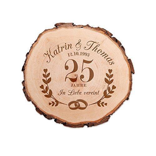Casa Vivente Baumscheibe mit Gravur - Zur Silbernen Hochzeit - Personalisiert mit Namen und Datum - Aus Echtholz - Türschild und Wand-Deko - Geschenkidee für Paare zum 25. Hochzeitstag