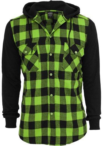 Urban classics veste à capuche à carreaux en flanelle tB513 sweat-shirt à manches longues regular fit Multicolore - black/limegreen/black