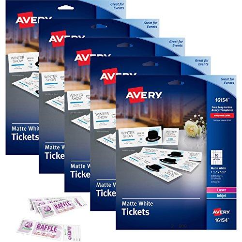 Avery Ausdruckbare Tickets mit aufreißbare stichleitungen weiß 13/10,2cm Breite x 51/5,1cm Länge–Laser, Inkjet–20/Blatt–5/Karton (16154ct)