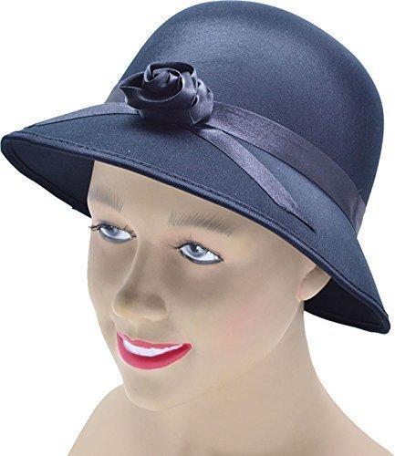 Unisex Fancy Kleid Party mit Kopfbedeckungen Zubehör Damen 1920er Stil Plüsch Satin Hat Gr. Einheitsgröße, Schwarz - (Kleid Fancy Hut)