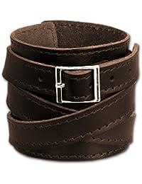 SilberDream Bracelet de Cuir fixation en acier inoxydable Couleur brun Taille depuis 17cm Bracelet pour homme LA1302B