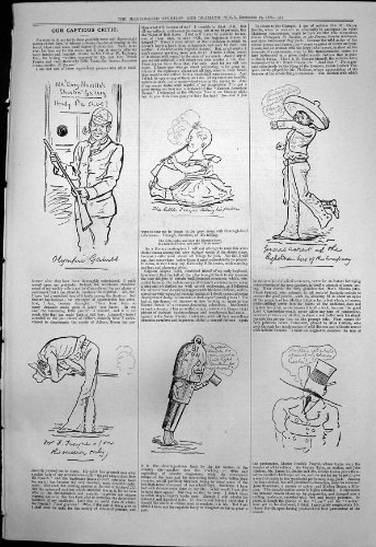 Jeux Olympiques Insidieux 1876 de Galerie de Tir de Henry Nevilles de Critique par original old antique victorian print