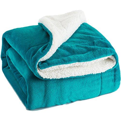 Bedsure Kuscheldecke Türkis zweiseitige Decke aus Sherpa Fleece XL 220x240cm, extra warm& weich Wohndecke in Winter, super Flauschige Dicke Sofadecke, leichte Mikrofaser-Fleecedecke als Überwurf