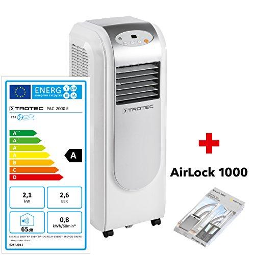 TROTEC Lokales mobiles Klimagerät Klimaanlage PAC 2000 E mit 2,1 kW / 7.200 Btu, EEK A (inkl. Timer-Funktion,...