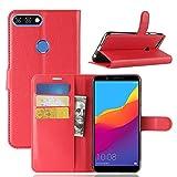 Cover Huawei Y7 Prime (2018) ROCKWEY,portafoglio Cassa del telefono Cover per Huawei Y7 Prime (2018)(rosso)