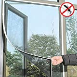 130 cm x 150 cm Magnetic Fliegengitter Magnet-Rahmen, Insektenschutz Fenster, Zuschneidbar ohne Bohren Klebmontage| Insektenschutz Fenster Fliegenvorhang Moskitonetz (Weiß)