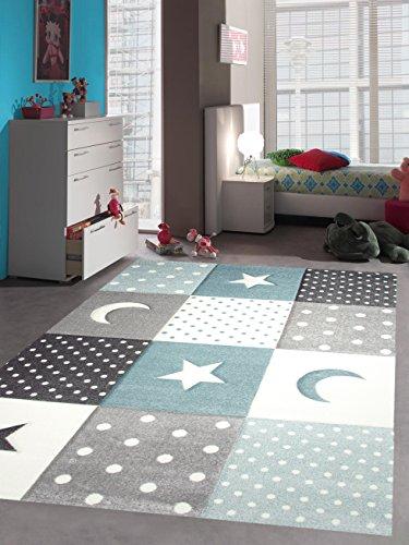 Kinderteppich Teppich Kinderzimmer Babyteppich Stern Mond in Blau Türkis Grau Creme Größe 200 x 290 cm