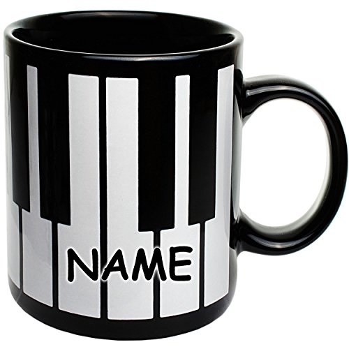 alles-meine.de GmbH 1 Stück _ Henkeltasse / Kaffeetasse -  Klavier & Piano Tastatur / Klaviatur  - incl. Name - groß - 330 ml - Porzellan / Keramik - Teetasse - Trinktasse mit ..