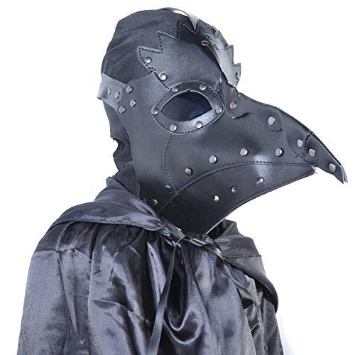 Homedecoam PU Leather Mask Plague Doctor Mask Halloween Props Steampunk Kostüm Schnabelmaske Mittelalter Pest-Maske Doktor Arzt Kopfmaske