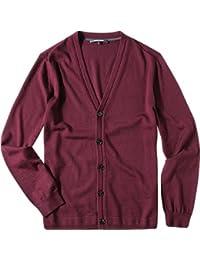 RENÉ LEZARD Herren Cardigan Schurwolle Feinstrickjacke Unifarben, Größe: 50, Farbe: Rot