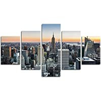 "5 pedazos Pintura de la lona de New York City Arte de la pared Empire State Building NYC Arte del cuadro del horizonte en fondo de madera de la vendimia Modern Cityscape Giclee Artwork (50 ""W x 28"" H, sin marco) CrmOArt"