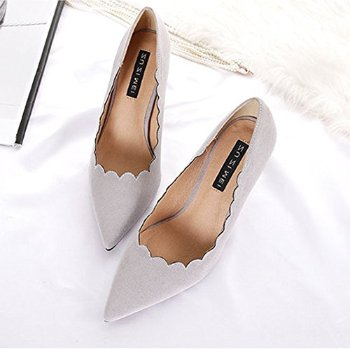 Aisun Damen Elegant Spitz Zehen Blume Stiletto Low Top High Heels Pumps Grau
