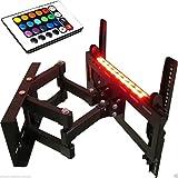 Halterung mit LED Streifen Bluetooth schwenkbar ausziehbar +/- 15° geeignet für TV und Monitore bis 140 cm Diagonal (55 Zoll) mit VESA Normen in mm: 100x100 | 200x100 | 200x200 | 300x300 | 300x400 | 400x300 | 400x400| 500x400| 600x400, Wandabstand max 470 mm, min 120 mm , universell passend für alle Monitore und TV-Marke, mit Klebestreifen 2 Streife mit 16-farbiger 18-LEDs Beleuchtung + Fernbedienung 24 Tasten, 6 Funktionen, ein/aus Tasten Netzteil Kontroller, Model 6368