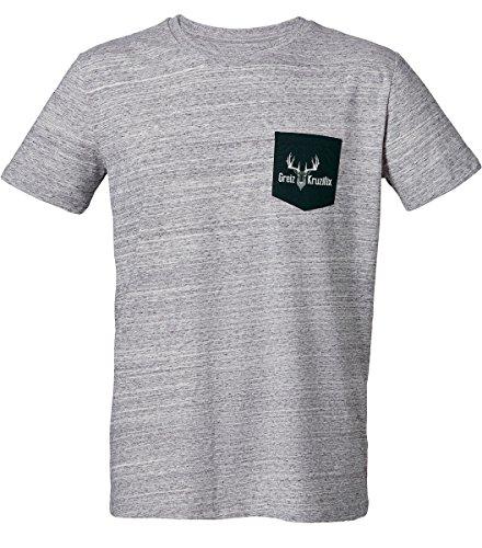 Trachten T-Shirt mit Brusttasche Greiz Kruzifix Hirsch Kopf -