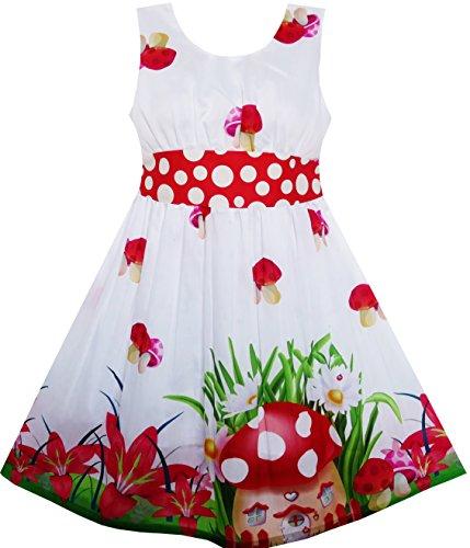 Mädchen Kleid Pilz Blume Gras Drucken Polka Punkt Gürtel Rot Gr.116