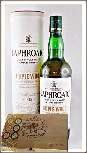 Laphroaig Triple Wood Single Malt Whisky mit 45 DreiMeister Edel Schokoladen im Holzkistchen, kostenloser Versand