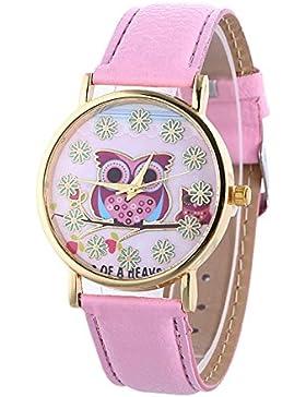 Sunnywill Frauen Mädchen Damen Schöne Mode Design PU Leder Eule Muster Quarz Analog Armbanduhr für Weibliche