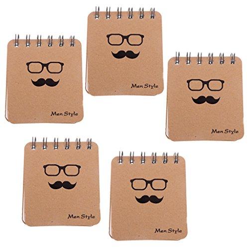 Homyl Portable Männer Stil Schnurrbart Bart Serie Spiralblock Notizblock Memo Pad Tagebuch - Brille