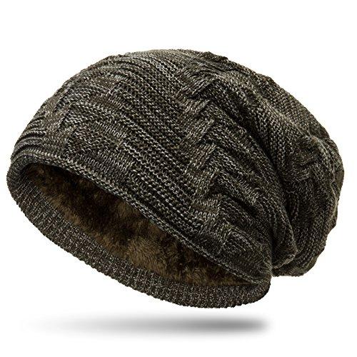 CASPAR MU154 gefütterte Feinstrick Beanie Mütze mit stylischem Flecht Muster, Farbe:olivgrün / grau;Größe:One Size (Olivgrün Gefüttert)