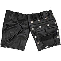 Guanti in pelle, senza dita, con borchie, Deluxe, colore: nero, M