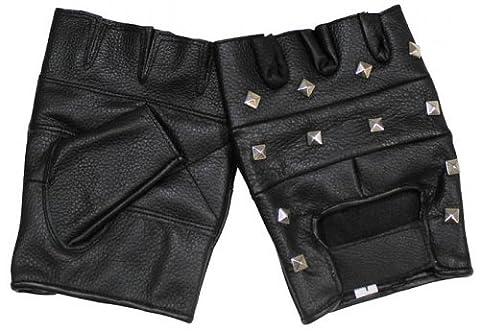 Lederhandschuhe, ohne Finger, mit Nieten, Deluxe, schwarz Größe: M