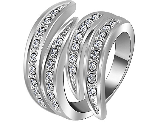 Jewel Queen Platinum plated Austrian crystals ring (Nickle free) Jewelry For Women By JewelQueen