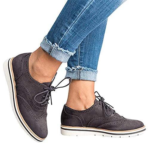 Rioneo Damen Schnürschuhe Oxford Schuhe Feminine Brogues Flache Freizeit Vintage Schnürer Schuhe Schwarz Pink Grau Blau Brown 35-43 Grau 39
