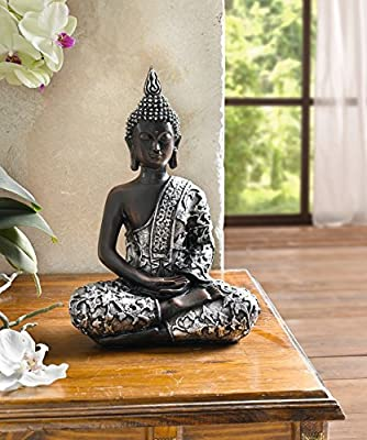 "Decorative-Figure 'Indian Buddha"" Silver Modern Unusual Large Good Luck Buddha"