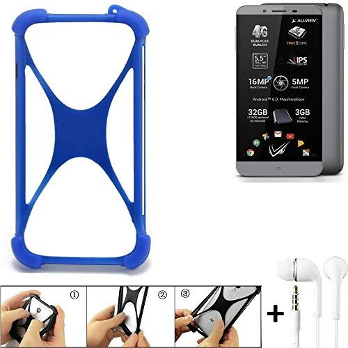 K-S-Trade Handyhülle für Allview V2 Viper S Bumper Schutzhülle Silikon Schutz Hülle Cover Case Silikoncase Silikonbumper TPU Softcase Smartphone, Blau (1x), Headphones