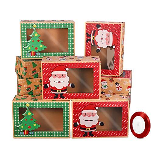 Hemoton - 12 cajas galletas Navidad cinta caja regalo