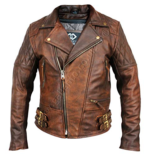 6750c496dee1 Gallanto Vintage Brown Classic Diamond Armoured Motorcycle Biker Leather  Jacket (S)