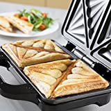 from Tower Tower T27013 Deep Fill Sandwich Maker, Easy Clean, Ceramic Stone Coated, 900 W, Silver Model T27013